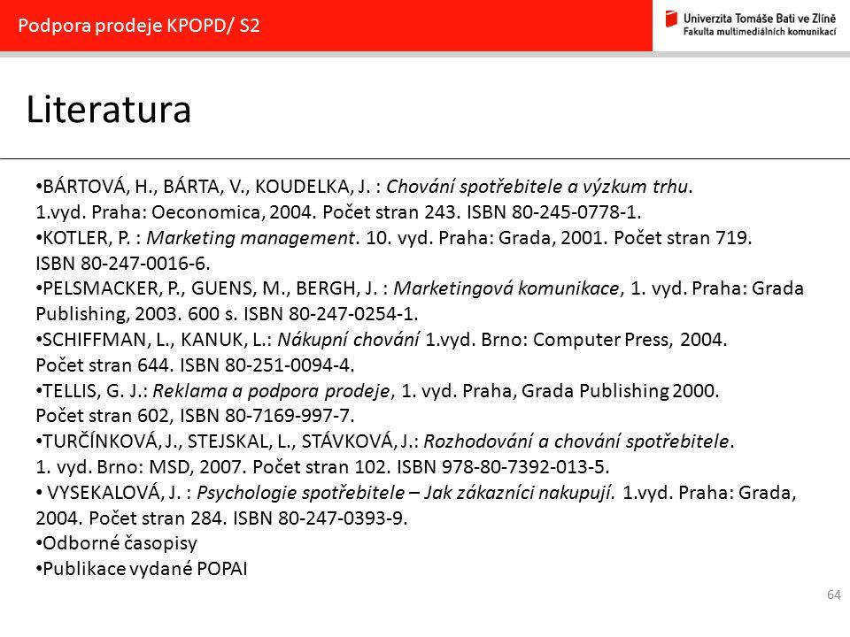 Literatura Podpora prodeje KPOPD/ S2