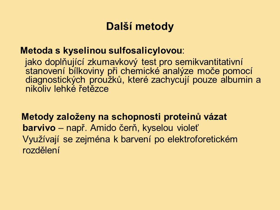 Další metody Metoda s kyselinou sulfosalicylovou: