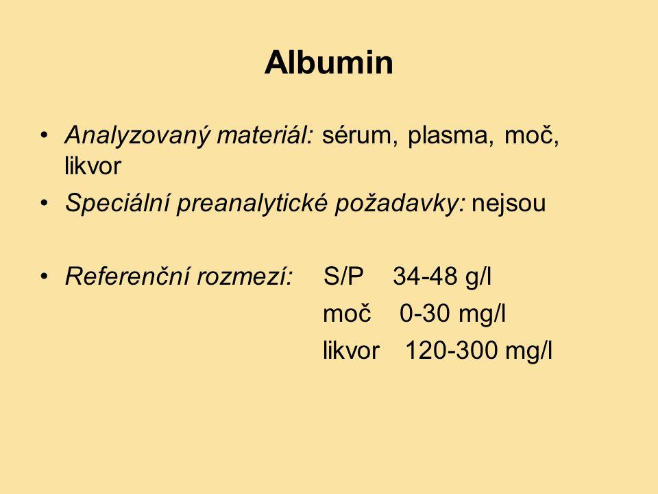 Albumin Analyzovaný materiál: sérum, plasma, moč, likvor