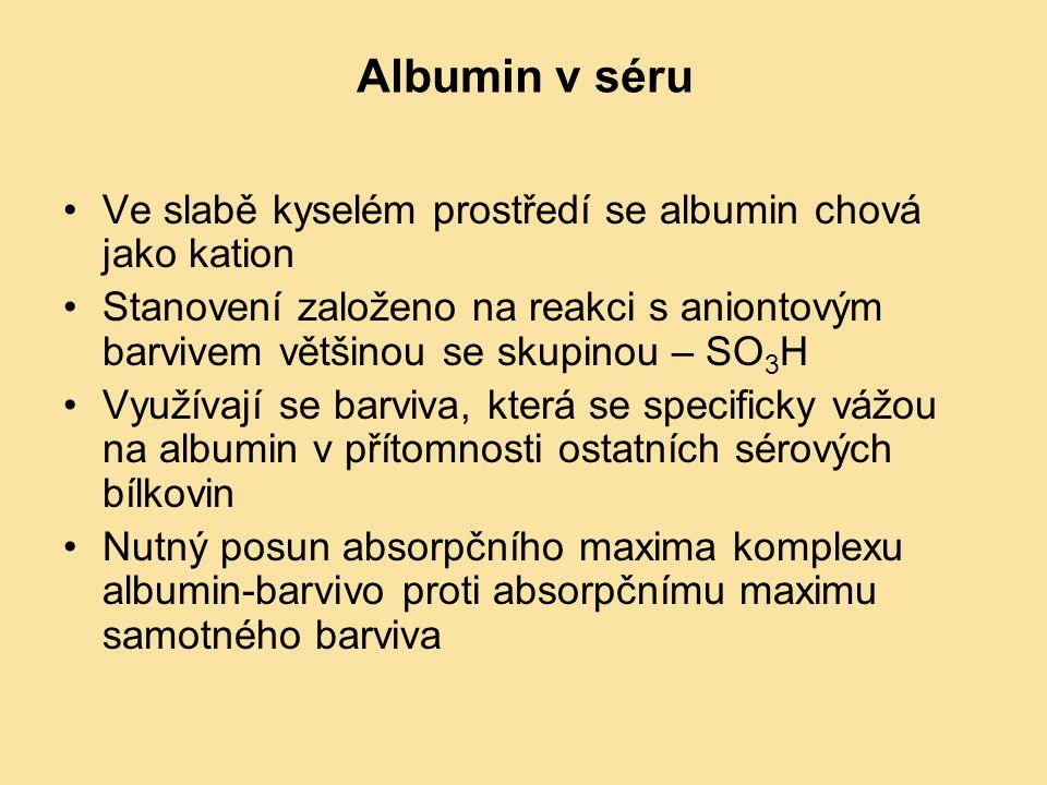 Albumin v séru Ve slabě kyselém prostředí se albumin chová jako kation