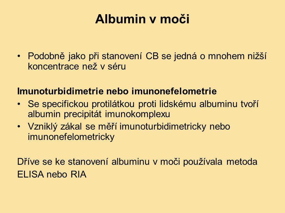 Albumin v moči Podobně jako při stanovení CB se jedná o mnohem nižší koncentrace než v séru. Imunoturbidimetrie nebo imunonefelometrie.
