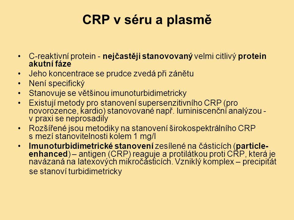 CRP v séru a plasmě C-reaktivní protein - nejčastěji stanovovaný velmi citlivý protein akutní fáze.