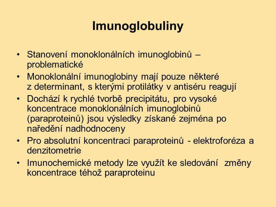 Imunoglobuliny Stanovení monoklonálních imunoglobinů – problematické