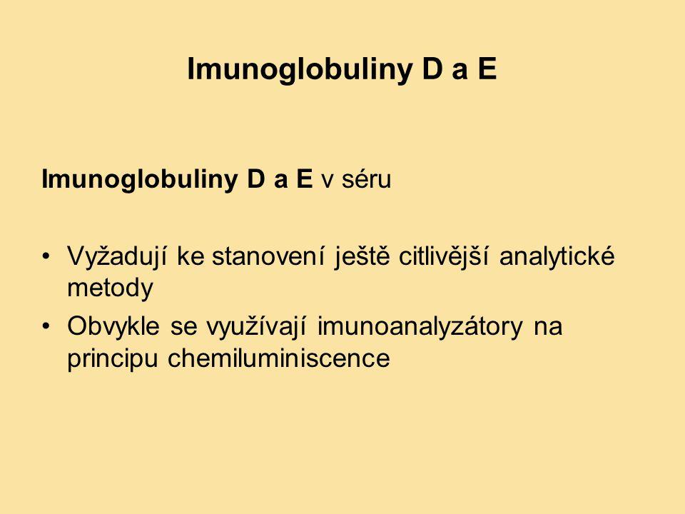 Imunoglobuliny D a E Imunoglobuliny D a E v séru