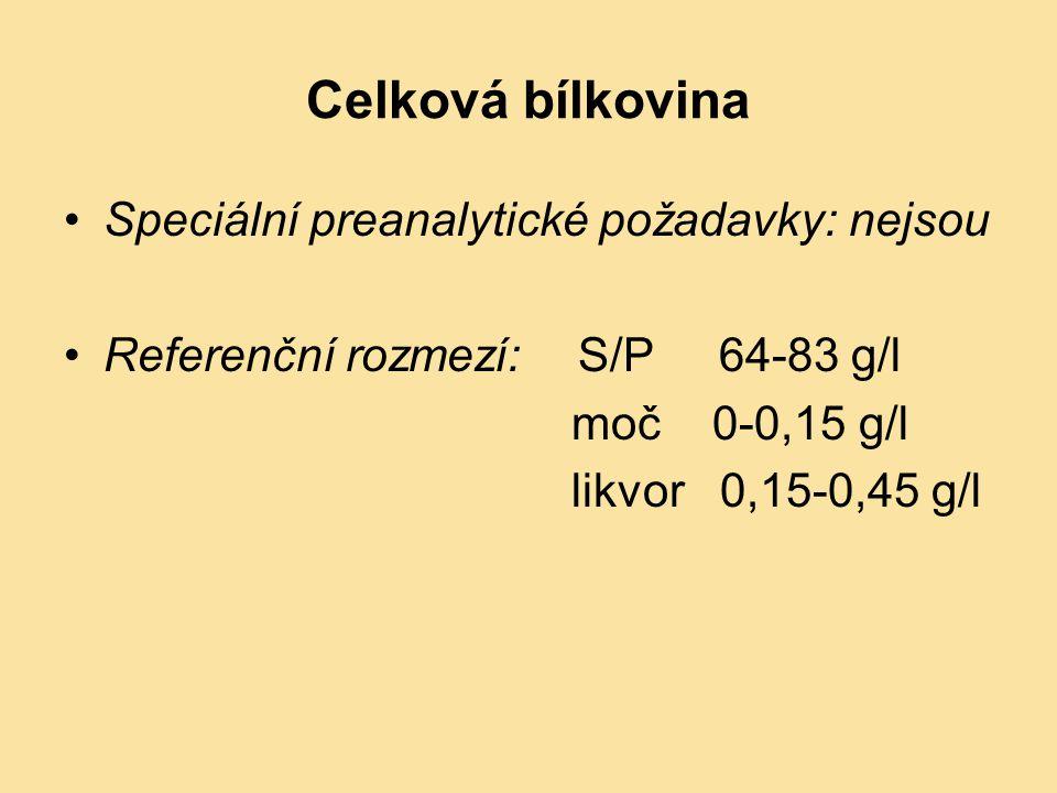 Celková bílkovina Speciální preanalytické požadavky: nejsou