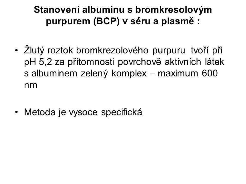 Stanovení albuminu s bromkresolovým purpurem (BCP) v séru a plasmě :
