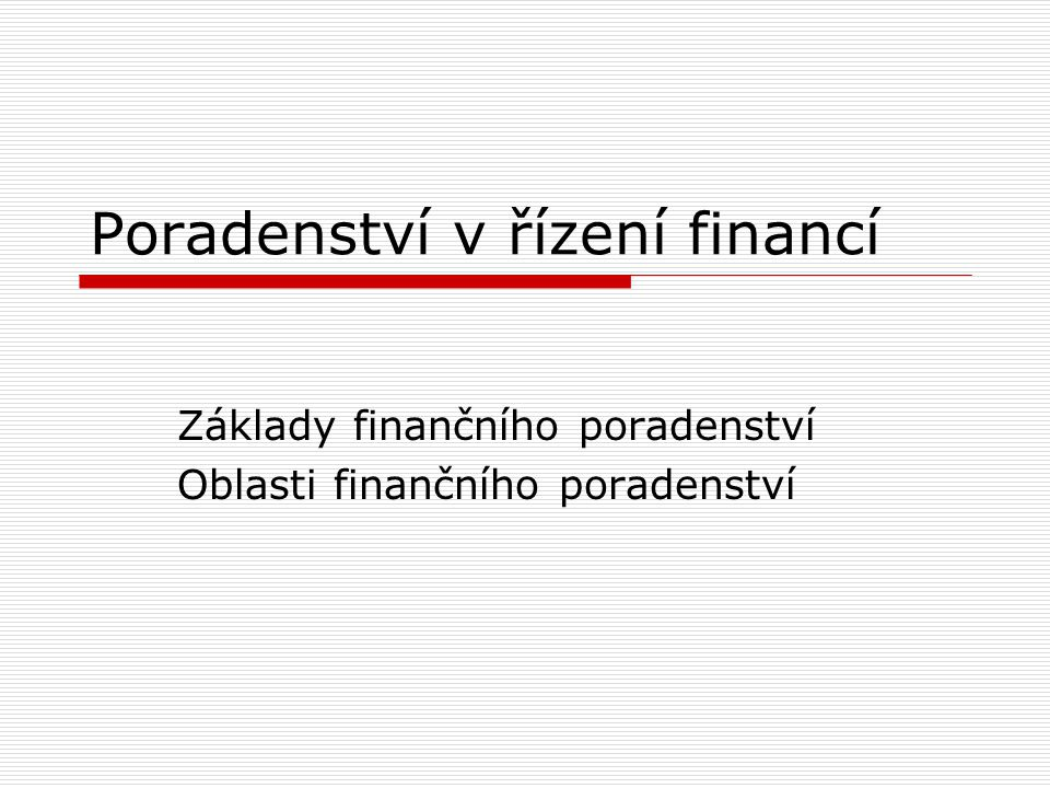 Poradenství v řízení financí
