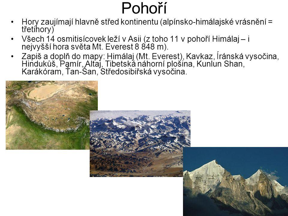 Pohoří Hory zaujímají hlavně střed kontinentu (alpínsko-himálajské vrásnění = třetihory)