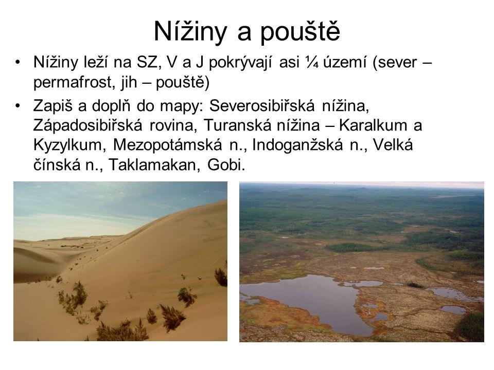 Nížiny a pouště Nížiny leží na SZ, V a J pokrývají asi ¼ území (sever – permafrost, jih – pouště)