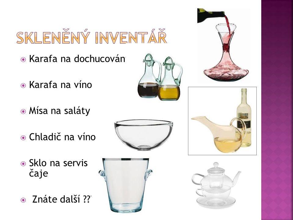 Skleněný inventář Karafa na dochucování Karafa na víno Mísa na saláty