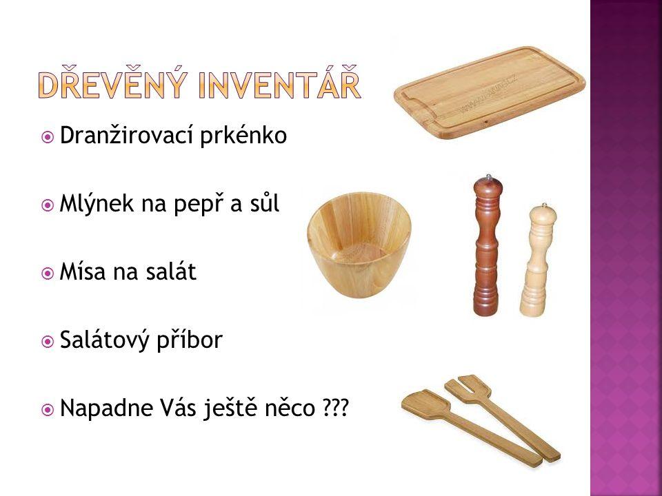 Dřevěný inventář Dranžirovací prkénko Mlýnek na pepř a sůl