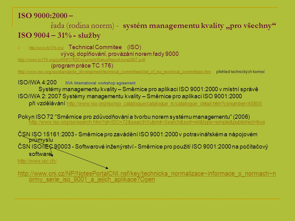 """ISO 9000:2000 – řada (rodina norem) - systém managementu kvality """"pro všechny ISO 9004 – 31% - služby"""