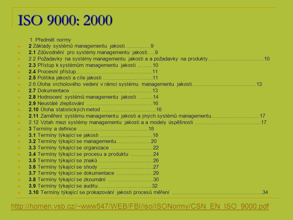 ISO 9000: 2000 1. Předmět normy. 2 Základy systémů managementu jakosti.................9. 2.1 Zdůvodnění pro systémy managementu jakosti.....9.