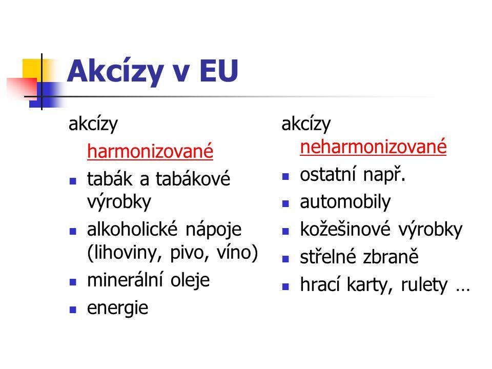 Akcízy v EU akcízy harmonizované tabák a tabákové výrobky