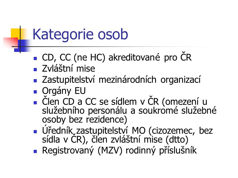 Kategorie osob CD, CC (ne HC) akreditované pro ČR Zvláštní mise