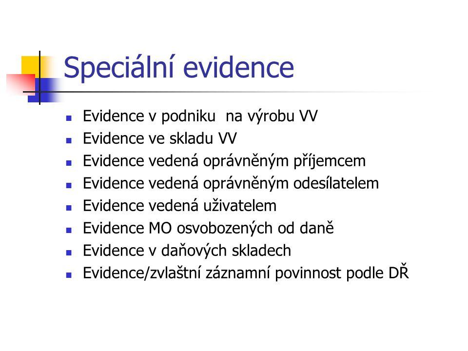 Speciální evidence Evidence v podniku na výrobu VV