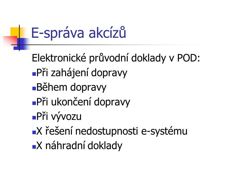 E-správa akcízů Elektronické průvodní doklady v POD: