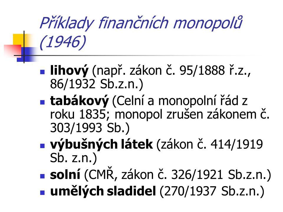 Příklady finančních monopolů (1946)