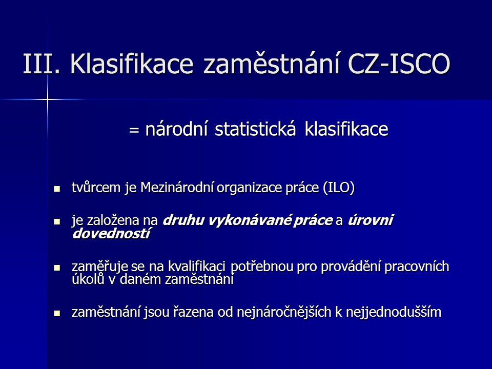 III. Klasifikace zaměstnání CZ-ISCO