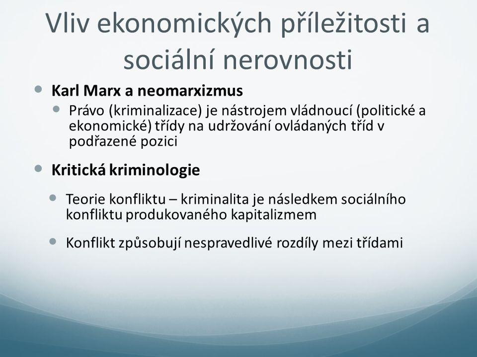 Vliv ekonomických příležitosti a sociální nerovnosti