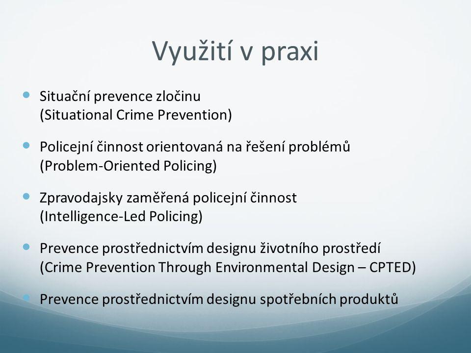 Využití v praxi Situační prevence zločinu (Situational Crime Prevention)