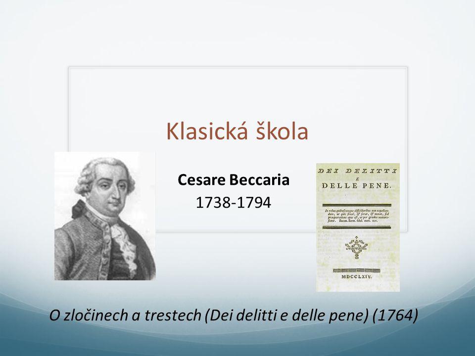 O zločinech a trestech (Dei delitti e delle pene) (1764)