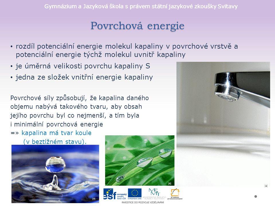 Povrchová energie rozdíl potenciální energie molekul kapaliny v povrchové vrstvě a potenciální energie týchž molekul uvnitř kapaliny.