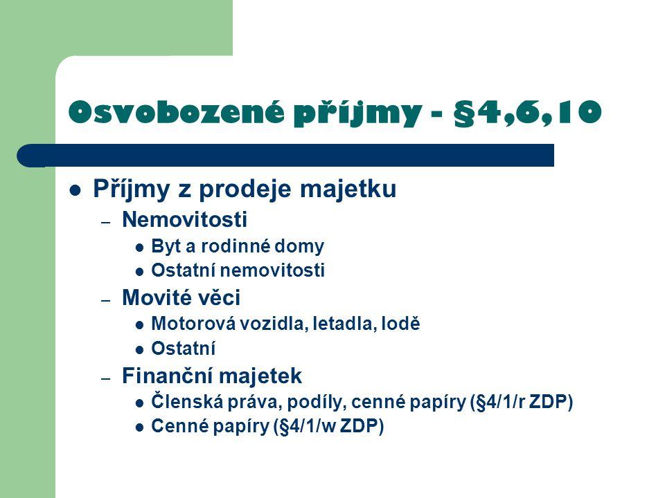 Osvobozené příjmy - §4,6,10 Příjmy z prodeje majetku Nemovitosti