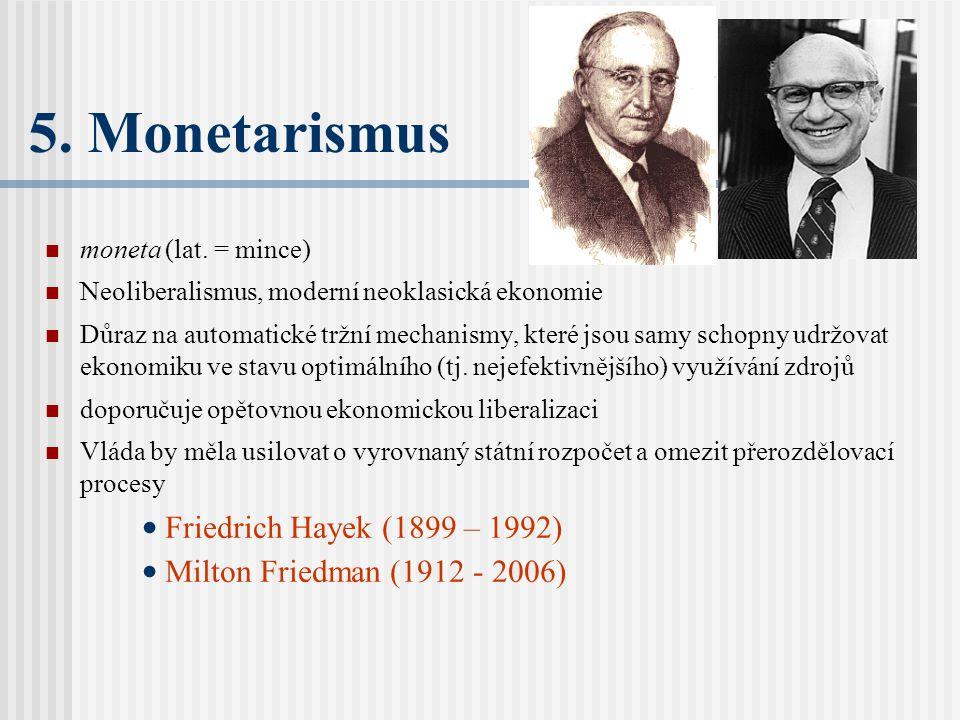 5. Monetarismus Friedrich Hayek (1899 – 1992)