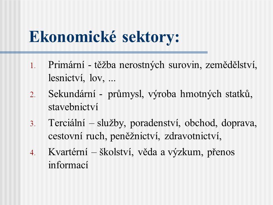 Ekonomické sektory: Primární - těžba nerostných surovin, zemědělství, lesnictví, lov, ...