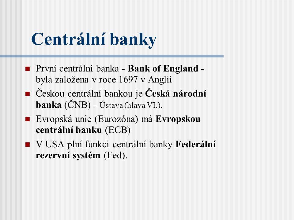 Centrální banky První centrální banka - Bank of England - byla založena v roce 1697 v Anglii.