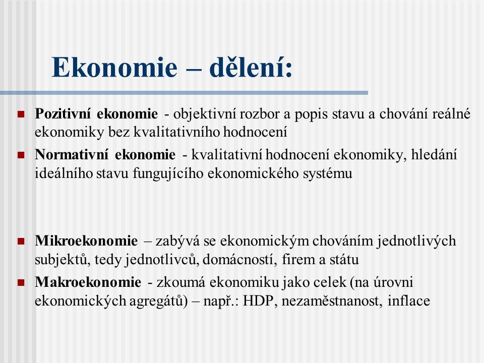 Ekonomie – dělení: Pozitivní ekonomie - objektivní rozbor a popis stavu a chování reálné ekonomiky bez kvalitativního hodnocení.