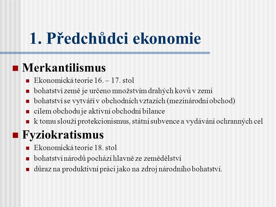 1. Předchůdci ekonomie Merkantilismus Fyziokratismus