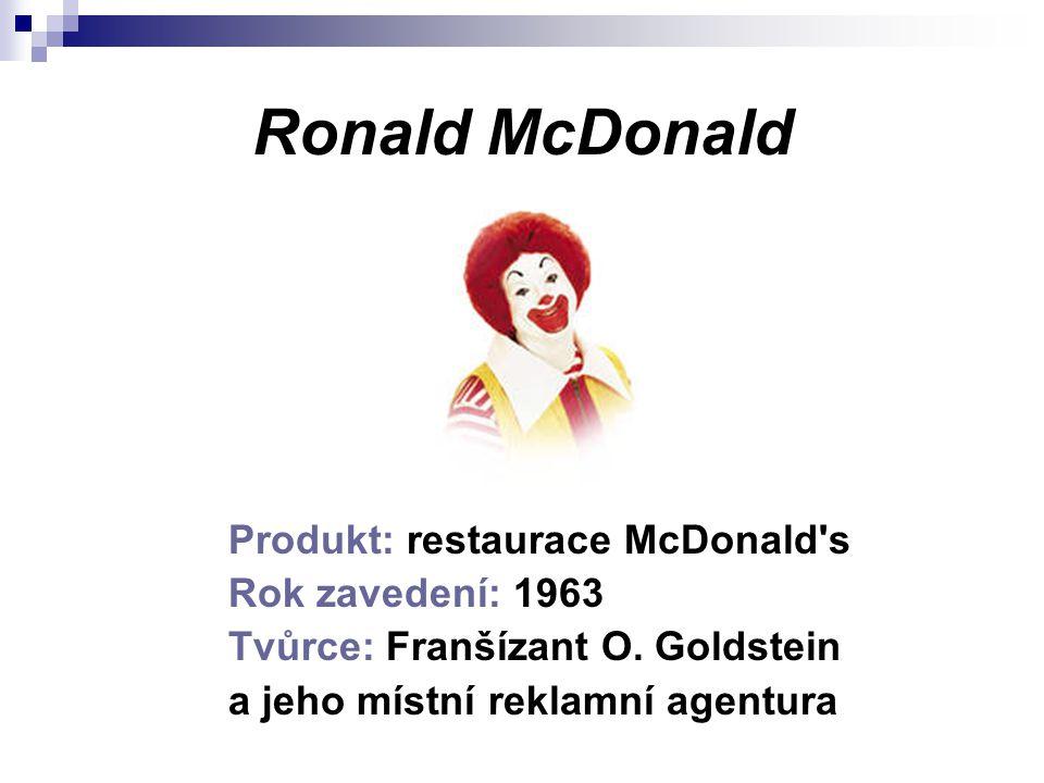 Ronald McDonald Produkt: restaurace McDonald s Rok zavedení: 1963