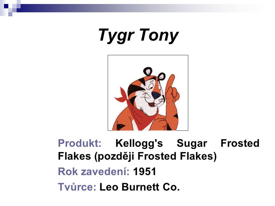 Tygr Tony Produkt: Kellogg s Sugar Frosted Flakes (později Frosted Flakes) Rok zavedení: 1951.