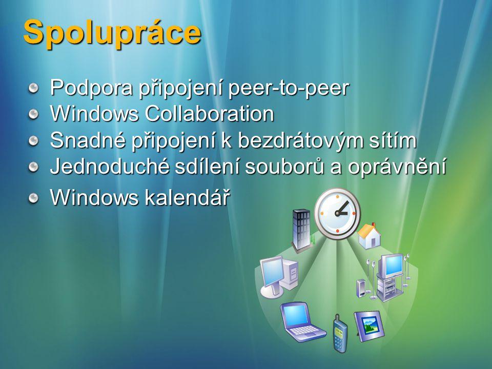 Spolupráce Podpora připojení peer-to-peer Windows Collaboration