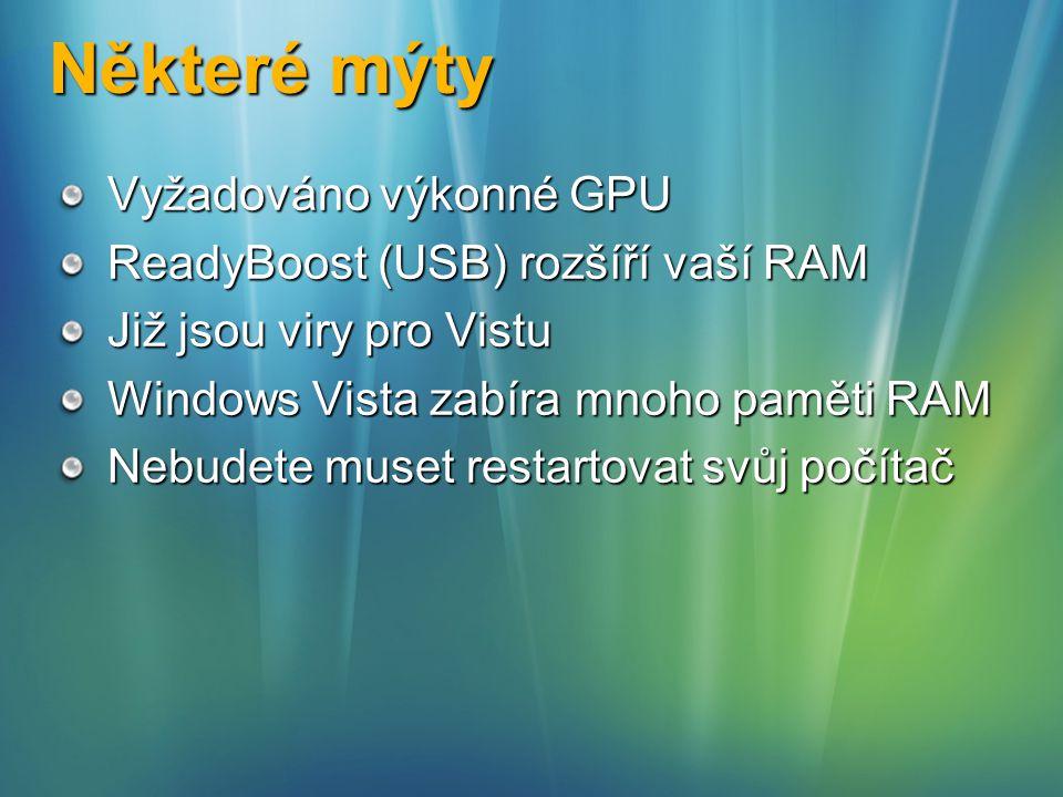 Některé mýty Vyžadováno výkonné GPU ReadyBoost (USB) rozšíří vaší RAM