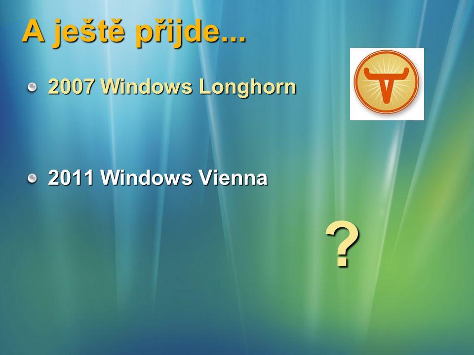 A ještě přijde... 2007 Windows Longhorn 2011 Windows Vienna