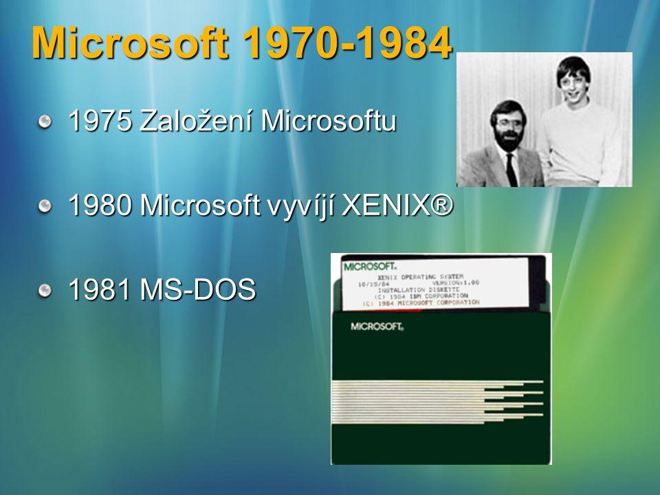 Microsoft 1970-1984 1975 Založení Microsoftu