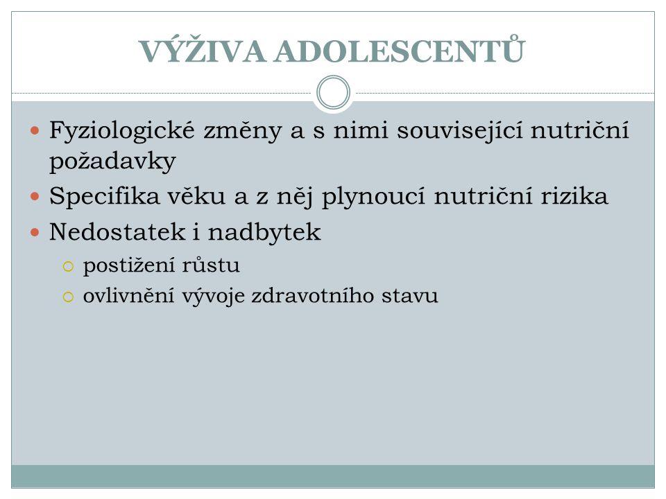 VÝŽIVA ADOLESCENTŮ Fyziologické změny a s nimi související nutriční požadavky. Specifika věku a z něj plynoucí nutriční rizika.