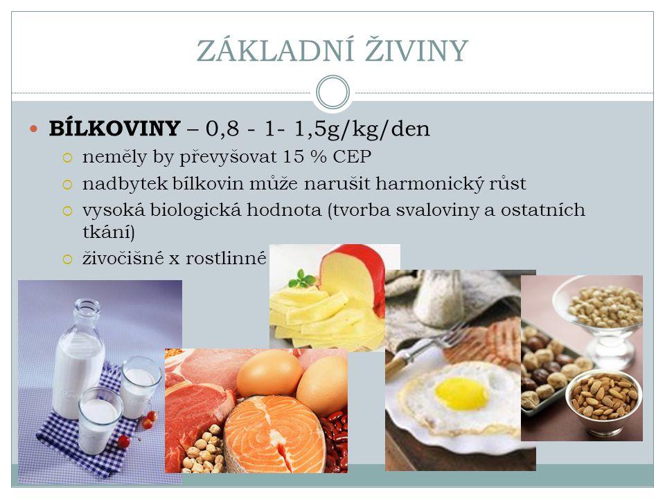 ZÁKLADNÍ ŽIVINY BÍLKOVINY – 0,8 - 1- 1,5g/kg/den