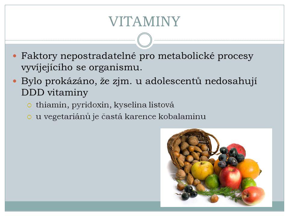 VITAMINY Faktory nepostradatelné pro metabolické procesy vyvíjejícího se organismu. Bylo prokázáno, že zjm. u adolescentů nedosahují DDD vitaminy.