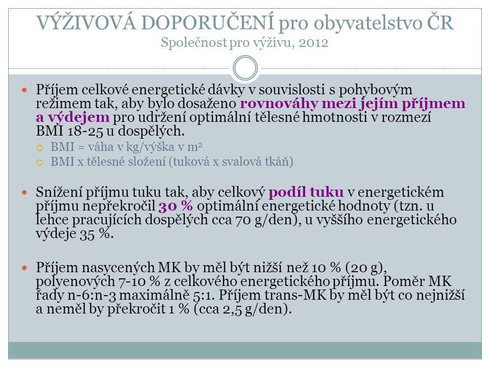 VÝŽIVOVÁ DOPORUČENÍ pro obyvatelstvo ČR Společnost pro výživu, 2012