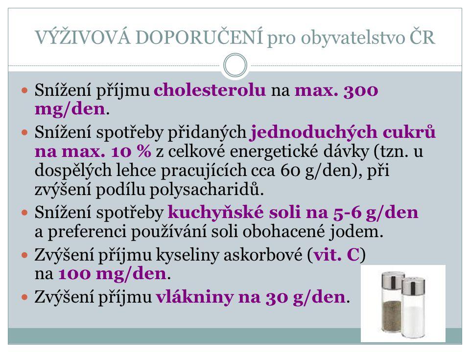 VÝŽIVOVÁ DOPORUČENÍ pro obyvatelstvo ČR