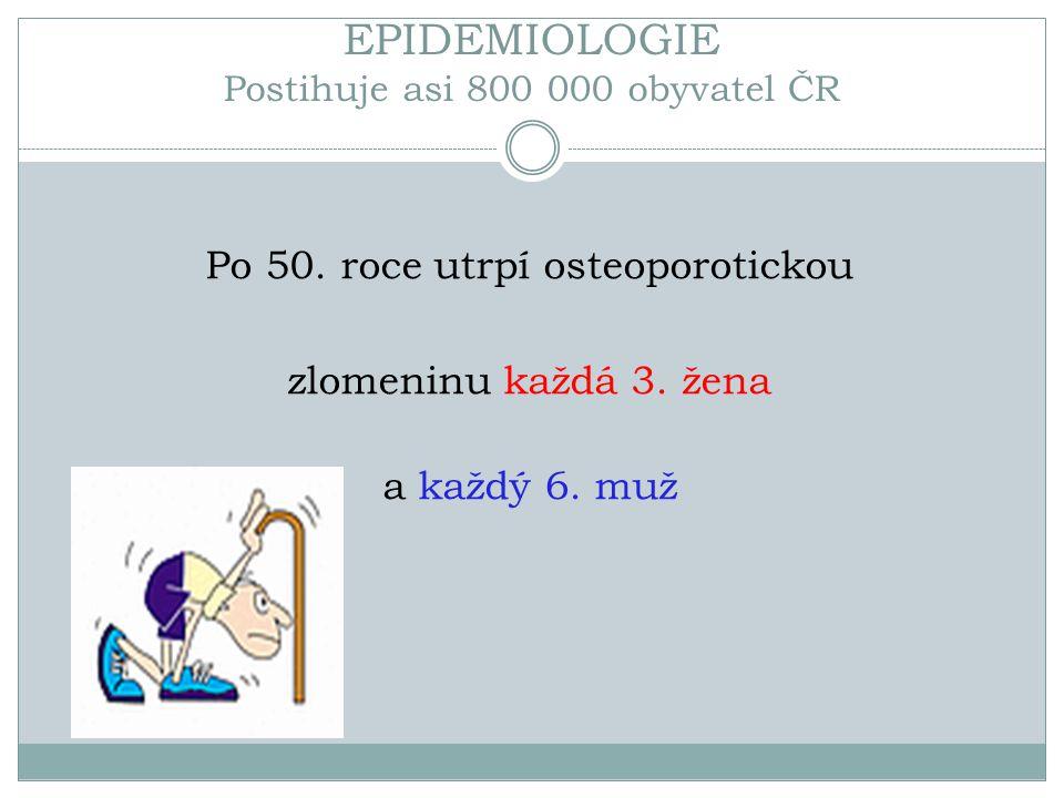 EPIDEMIOLOGIE Postihuje asi 800 000 obyvatel ČR