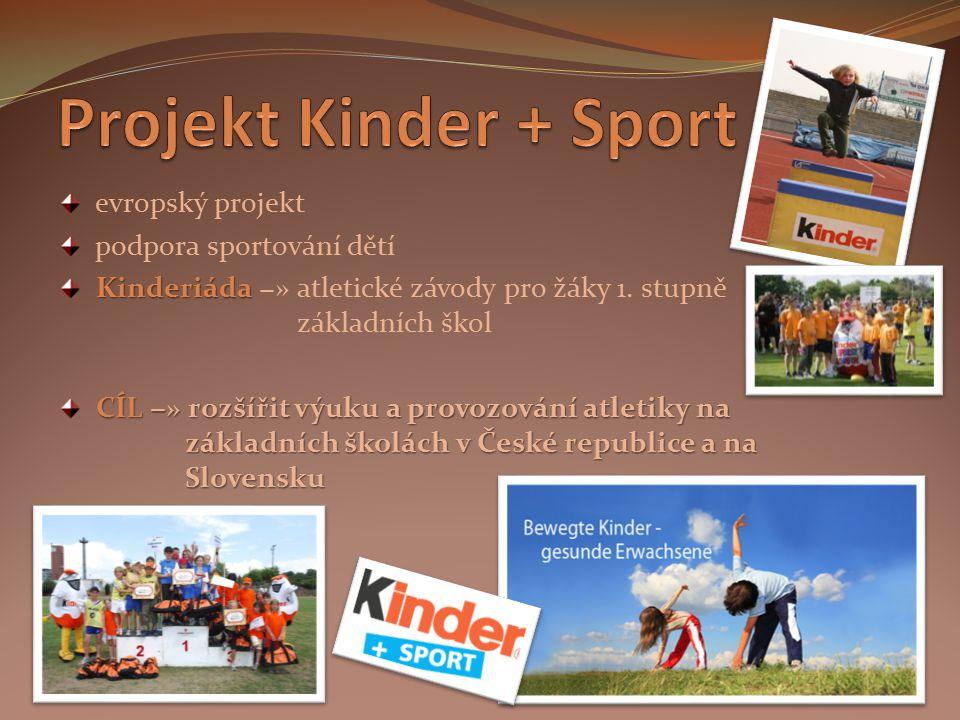 Projekt Kinder + Sport evropský projekt podpora sportování dětí