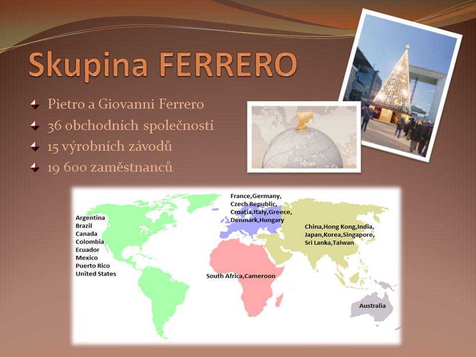 Skupina FERRERO Pietro a Giovanni Ferrero 36 obchodních společností