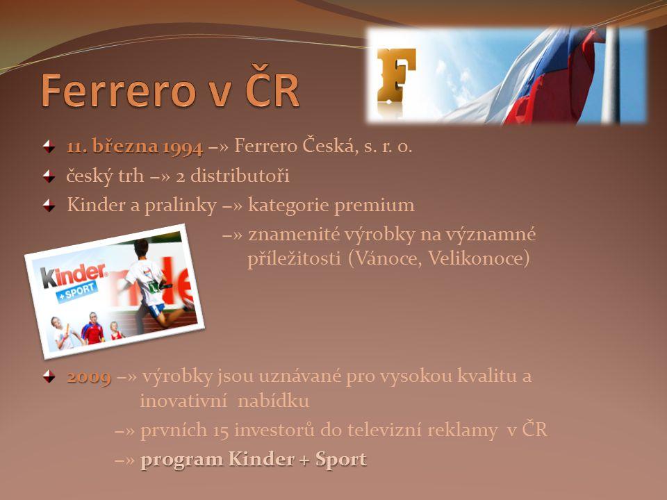 Ferrero v ČR 11. března 1994 −» Ferrero Česká, s. r. o.