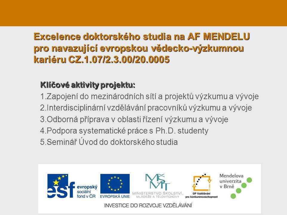 Excelence doktorského studia na AF MENDELU pro navazující evropskou vědecko-výzkumnou kariéru CZ.1.07/2.3.00/20.0005