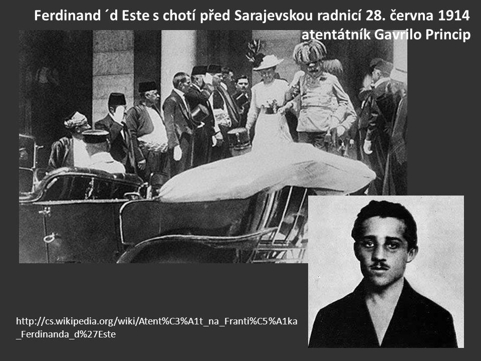 Ferdinand ´d Este s chotí před Sarajevskou radnicí 28. června 1914